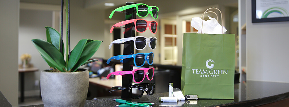 sunglasses rack on office front counter